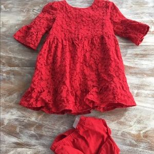 Toddler red lace holiday dress gap